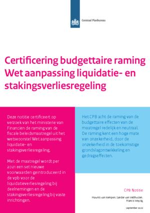 Certificering budgettaire raming Wet aanpassing liquidatie- en stakingsverliesregeling