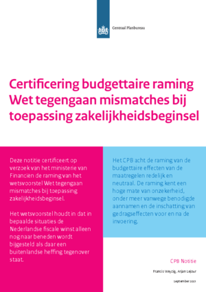 Certificering budgettaire raming Wet tegengaan mismatches bij toepassing zakelijkheidsbeginsel