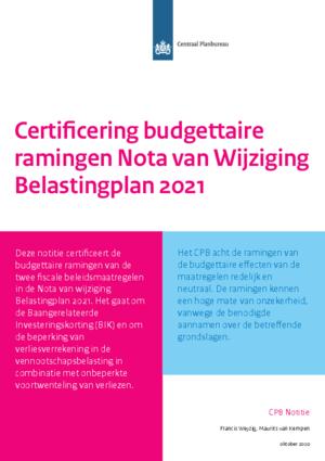 Certificering budgettaire ramingen Nota van Wijziging Belastingplan 2021
