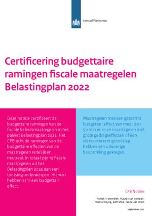 Certificering budgettaire ramingen fiscale maatregelen Belastingplan 2022