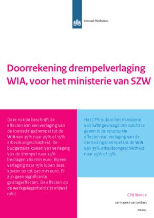 Doorrekening drempelverlaging WIA, voor het ministerie van SZW
