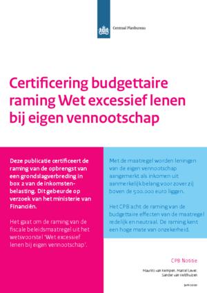 Certificering budgettaire raming Wet excessief lenen bij eigen vennootschap