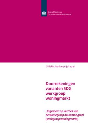 Doorrekeningen varianten SDG werkgroep woningmarkt