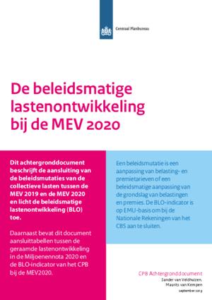 De beleidsmatige lastenontwikkeling bij de MEV 2020