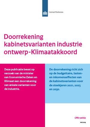 Doorrekening kabinetsvarianten industrie ontwerp-klimaatakkoord