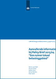Image for Aanvullende informatie bij CPB Policy Brief 2015/04 'Een ruimer lokaal belastinggebied'