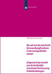 Image for De rol van de overheid bij waarborgfondsen in de semipublieke sector