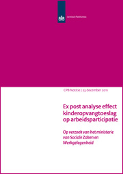 Image for Ex post analyse effect kinderopvangtoeslag op arbeidsparticipatie