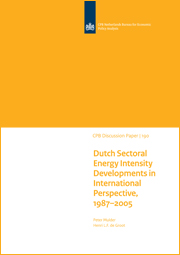 Image for Ontwikkelingen van Nederlandse sectorale energie-intensiteit in internationaal perspectief, 1987-2005