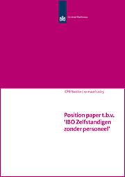 Image for Position paper t.b.v. 'IBO Zelfstandigen zonder personeel'