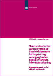 Image for Structurele effecten variant overdraagbaarheid algemene heffingskorting, verhoging kinderbijslag en IB-tarieven