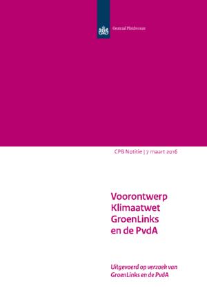 Voorontwerp Klimaatwet GroenLinks en de PvdA