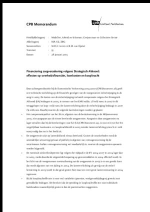 Financiering zorgverzekering volgens Strategisch Akkoord: effecten op overheidsfinanciën, loonkosten en koopkracht-januari 2003