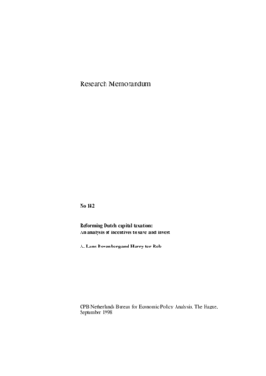 Reforming Dutch capital taxation: an analysis of incentives to save and invest