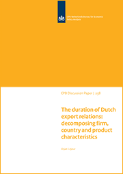 Image for The duration of Dutch export relations: decomposing firm, country and product characteristics