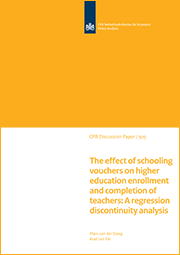 Image for The effect of schooling vouchers on higher education enrollment and completion of teachers: A regression discontinuity analysis